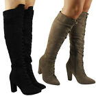 NEW WOMENS LADIES POINTED TOE OVER THE KNEE LACE UP BLOCK HEEL BOOTS SIZES 3-8