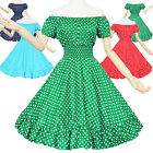 Maggie Tang 50s Pinup VTG Retro Rockabilly Polka Dot Housewife Swing Dress K-581