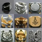 316L Men's Stainless Steel Masonic/Cross/Claddagh/Eagle/Skull Band Biker Rings