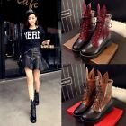 2015 Hot Womens Ankle Boots Rabbit Ear Lace Up low Chunky Heel Casual Shoes Size