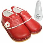 Girls Toddler Childrens Leather Squeaky Ankle Boots Shoes - Red & Shoe Horn