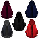 NEW LADIES FAUX FUR TRIM CAPE WOMEN'S HOODED TOWIE PONCHOS COAT