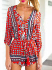 Romper Bohemian Style V Neck Playsuit in Red