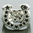 Silver Horseshoe Fortune Lucky Number 13 Black Stars Stainless Steel Band Rings