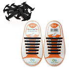 KIDS Black Pull Lock Anchor Type Silicon Fashion No Tie Shoe Laces 12 pcs