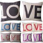 Love Couple Home Throw Decorative Cotton Linen Pillow Case Cover Valentine's Day