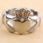 Mens Stainless Steel Love Irish Crown Claddagh Promise Friendship Biker Rings