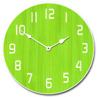 Retro Lime Green LARGE WALL CLOCK 10- 48 Whisper Quiet Non-Ticking WOOD HANDMA