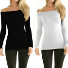 May&Maya Women's Cotton Long Sleeve Longline Off-thoulder Top Blouse Shirt Tee