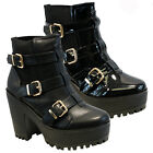 WOMENS LADIES CHUNKY PLATFORM CHELSEA BIKER ANKLE BOOTS CLEATED HIGH HEEL SHOES