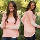 New Women's O-Neck Lace Stitch Long Sleeve  Sweater Casual Blouse Pullover Tops
