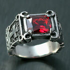 Classic Men Women Ruby Red CZ Cross Stainless Steel Ring Size 7 8 9 10 11 12 13