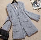 New 100% Real Knitted Mink Fur Jacket Coat Cardigan Outwear Grey Cutom Pocket