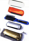 Folding Hair Brush With Integral Mirror. Optional Pouch. Choose Colour UK SELLER