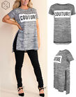 WOMENS SIDE SLIT SPLITS COUTURE PRINT T-SHIRT LADIES MARL KNIT LOOK HILO TOP
