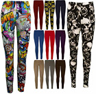 NEW PLUS SIZE PRINTED WOMEN LADIES FULL LENGTH STRETCH PLAIN LEGGINGS SIZES 8-26