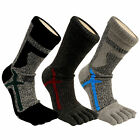 Mens Comfy Thick Crew Pile Outdoor Sports Golf Hiking Cycling 5 Finger Toe Socks
