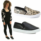 WOMENS LADIES FLAT SLIP ON PLIMSOLLS SNEAKERS TRAINERS SKATER SHOES PUMPS SIZE