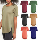 Womens Hi Low Hem Crepe Top Loose Fit Ladies Plain T-Shirt Long Fishtail Slouch