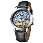Mens Zeitner Iconic Automatic Leather Strap Skeleton Watch Sun~Moon Face Design