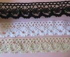 "4mts of 4cm (1.5"") Cotton crochet scallop lace edge trim, white cream or black"