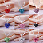 New Crystal Heart 925 Sterling Silver Plated Snake Chain Pendant NecklaceJewelry