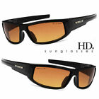 SPORT WRAP HD NIGHT DRIVING VISION SUNGLASSES BLACK HIGH DEFINITION GLASSES L# k