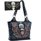 Western Bling Rhinestone Studded Buckle Floral Embroidered Purse With Wallet