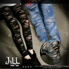 street punk visual rock mottled dyed layer look distressed tights J1Z2000