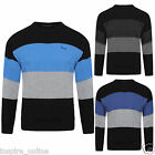 NEW MENS KNITTED CREW NECK SOFT KNIT STRIPE LONG SLEEVE JUMPER PULLOVER TOP SIZE