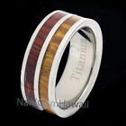 Titanium Koa Wood 8mm 2 Tone Double Row  Band Ring Flat Edge