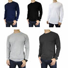 Mens 100% Cotton THERMAL TOP Crew Neck Long Sleeve Shirts Un