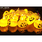 LED Fat Pumpkin String Light 10/ 16 Lights Battery Operated Halloween Party NEW