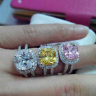 New 3CT Cushion Shape Pure Silver Ring Diamond Engagement Ring White Gold Finish