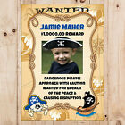 Personalised Pirate Wanted Birthday Party PHOTO Poster Banner N1. A4 or A3 Size