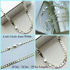 "mens silver curb neck chain 28""in 24""in 16in length necklace & gift pouch"