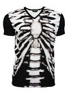 Men's Black & White X-Ray Skeleton Ribcage Bones V Neck T-Shirt Top Tee