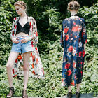 New Womens Fashion Chiffon Floral Long Trench Coat Outerwear Jacket Top Cover Up