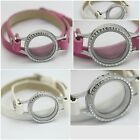 Memory Locket Leather Wrap Bracelet for Floating Charms