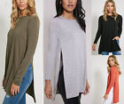 New Womens High Split Side Long Sleeve Ladies Stretch Jersey Tunic Look Top