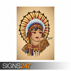 SAILOR JERRY NATIVE GIRL (1044) Photo Picture Poster Print Art A0 A1 A2 A3 A4