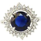 Size 5.5~10 Woman's Jewelry Stunning Blue Sapphire Gems Platinum Plated Ring
