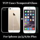 Genuine Tempered Glass + Soft Case Cover Skin For Apple iPhone 5S 5 6 6S Plus