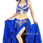 A001 Professional Belly Dancing Costume 3 Parts BRA + Belt + Skirt 11 Colors
