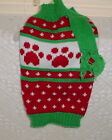 SIMPLYDOG** DOG SWEATER * RED GREEN AND WHITE * PAW PRINTS NEW * CUTE *