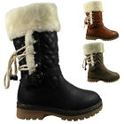 GIRLS FAUX FUR LINED QUILTED FUR COLLAR MID CALF BOOTS KIDS CHILDRENS SHOES SIZE