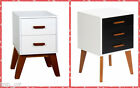 New Contemporary Bedside Table w/ Drawers & Timber Legs