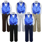 Внешний вид - 4pc Boys Baby Toddler Kids Royal Blue Vest Bow Tie Formal Set Suit S-7