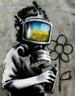 Banksy Gas Mask Boy print canvas  8x12 & 12x17 street art graffiti