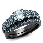 1 CT Stainless Steel Clear & Aqua Blue CZ Engagement Wedding Ring Set Size 5-10